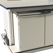 Electronic Height Adjustment for mobile laboratory benches